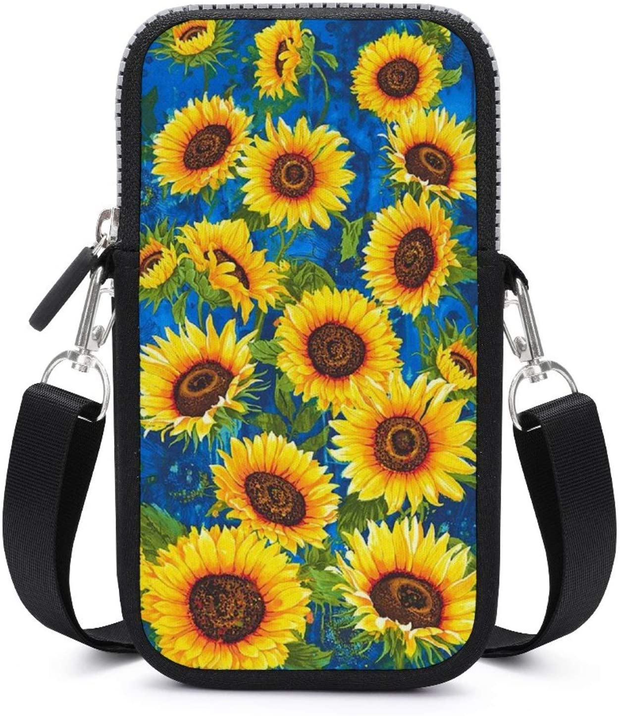 NiYoung Fashion Cell Phone Purse for Women and Girls - Small Crossbody Bag Shoulder Bag (Sunflower Painting Floral Art Pattern)