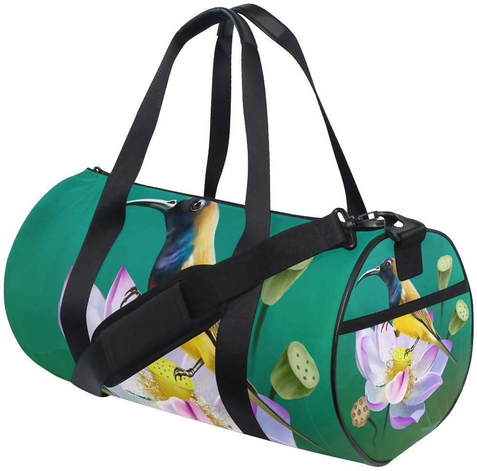 Lotus Flower Travel Duffle Bag Sports Luggage with Backpack Tote Gym Bag for Man Women(910g)