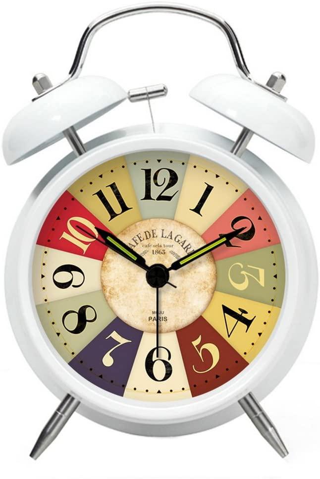 Gentle Meow Classical Alarm Clock Creative Decorative Clocks Mechanical Bedside Clock White