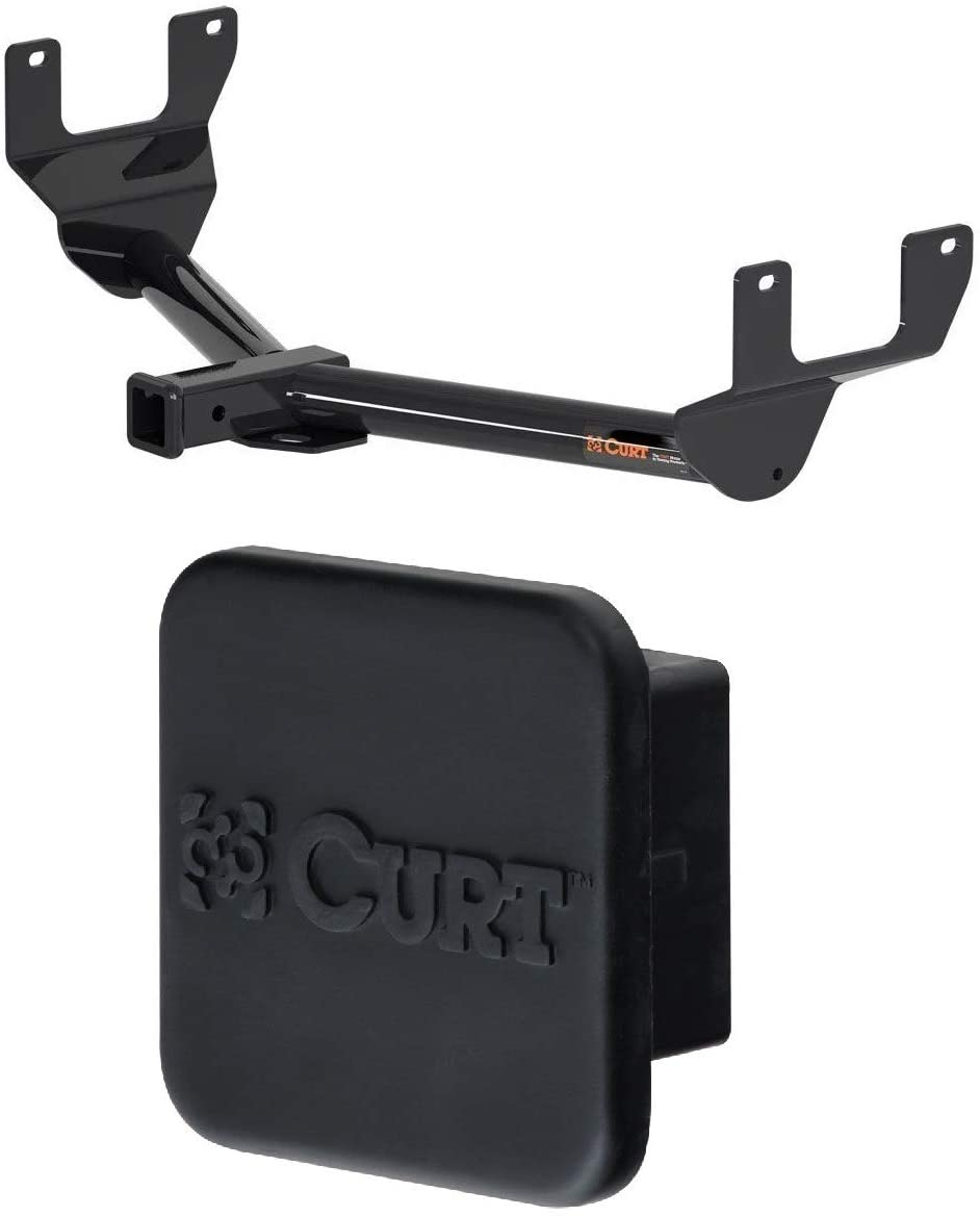Curt 13337 22272 Class 3 Trailer Hitch with 2 Inch Receiver and 2 Inch Rubber Hitch Tube Cover Bundle for Lexus NX200t NX300 NX300h