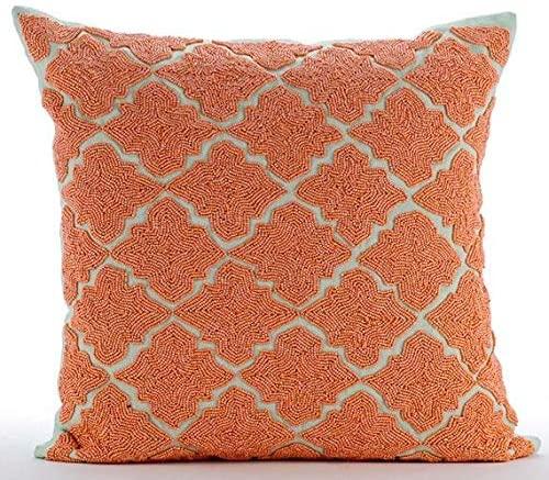 The HomeCentric Designer Orange Pillow Shams, Lattice Trellis Beaded Moroccan Theme Pillow Shams, 24x24 inch (60x60 cm) Pillow Shams, Square Cotton Linen Shams, Art Deco Pillow - Orange Medallion