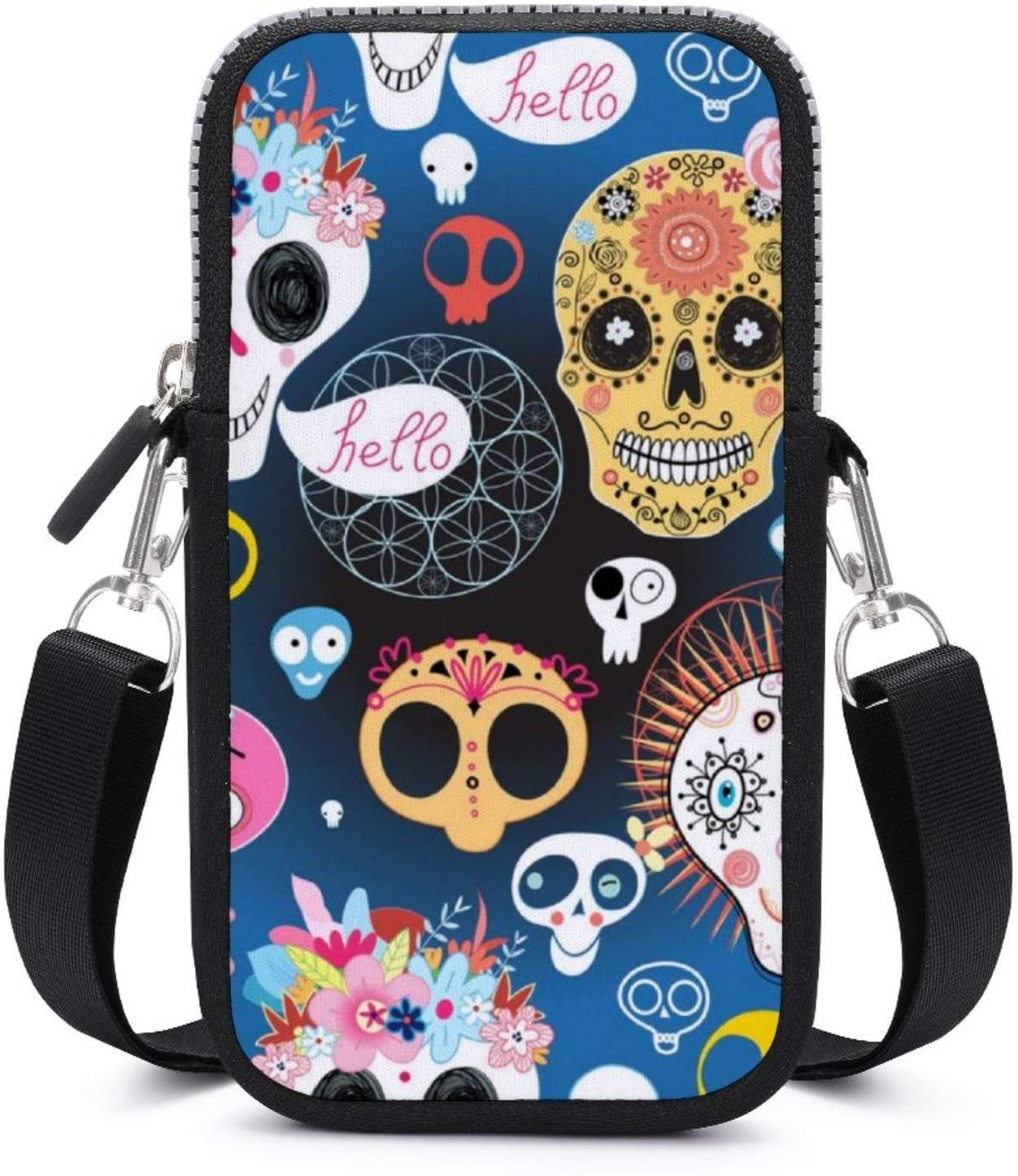 NiYoung Women Small Crossbody Phone Bag for Women - Fashion Cellphone Shoulder Bags Card Holder Wallet Purse (Cheerful Skulls Pattern)
