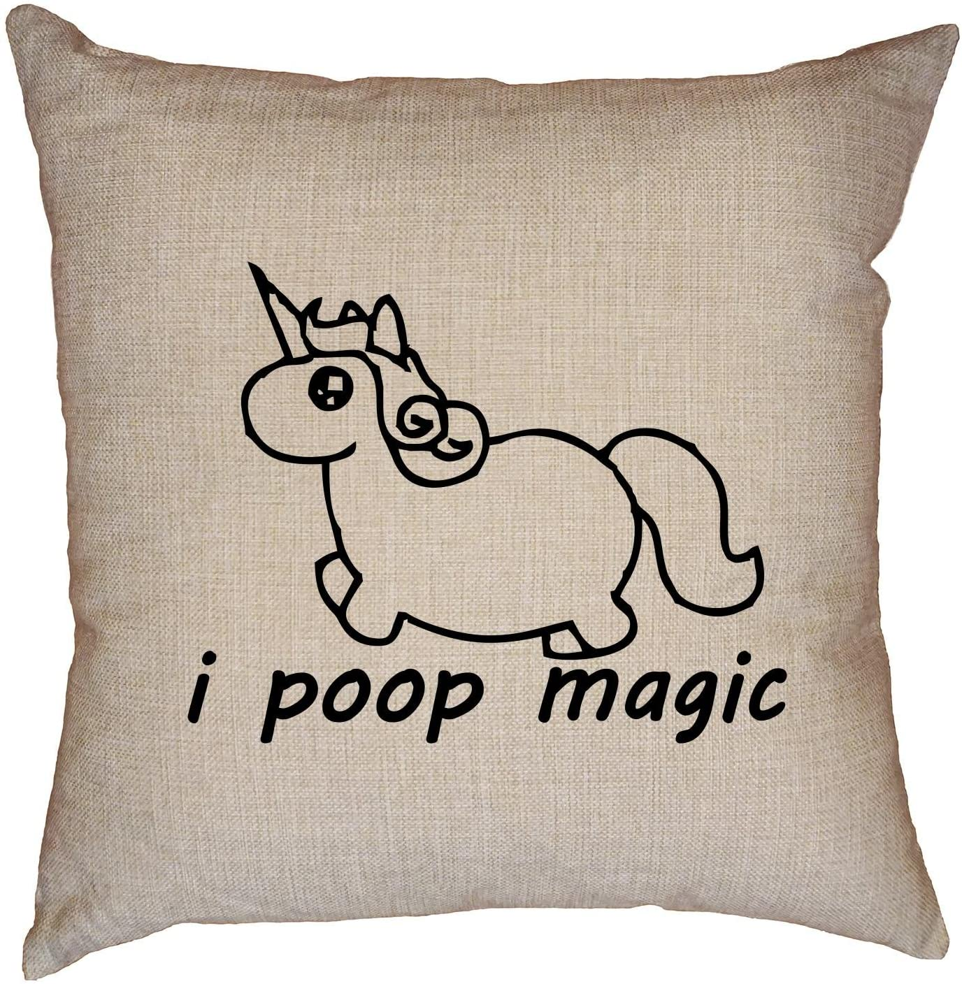 Hollywood Thread I Poop Magic - Hilarious Unicorn Love Graphic Decorative Linen Throw Cushion Pillow Case with Insert