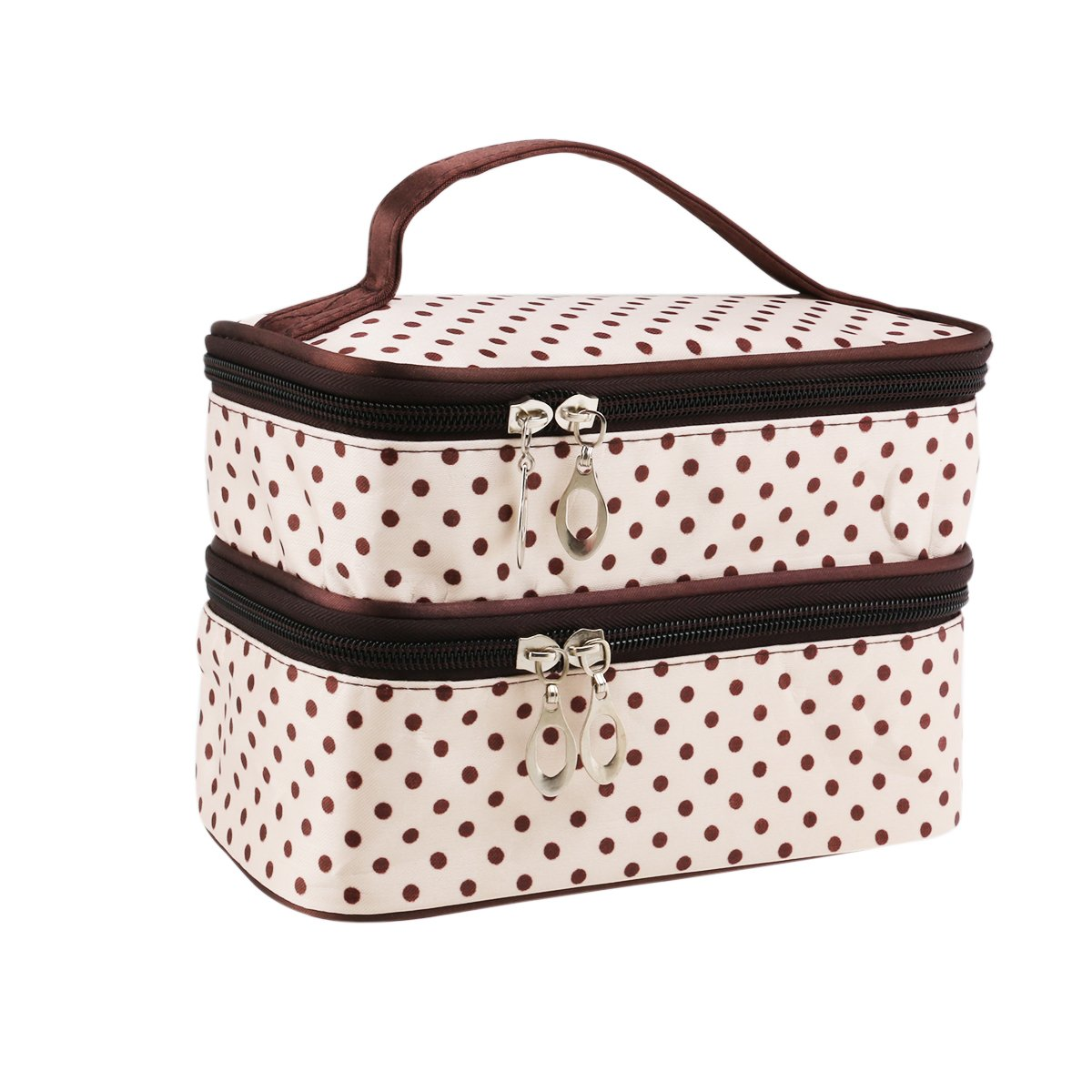 UEETEK Women Cosmetic Makeup Bag Double Layer Polka Dot Pattern Toiletry Pouch Organizer with Hand Strap for Travelling Beige