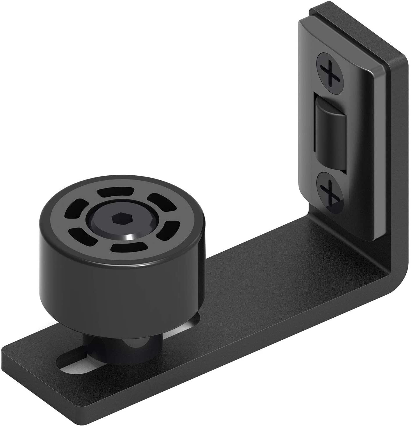 CCJH Adjustable Wall Mount Sliding Barn Door Floor Guide Double Rollers Bottom Mount Floor Guide Stay Roller(Black 1pcs)