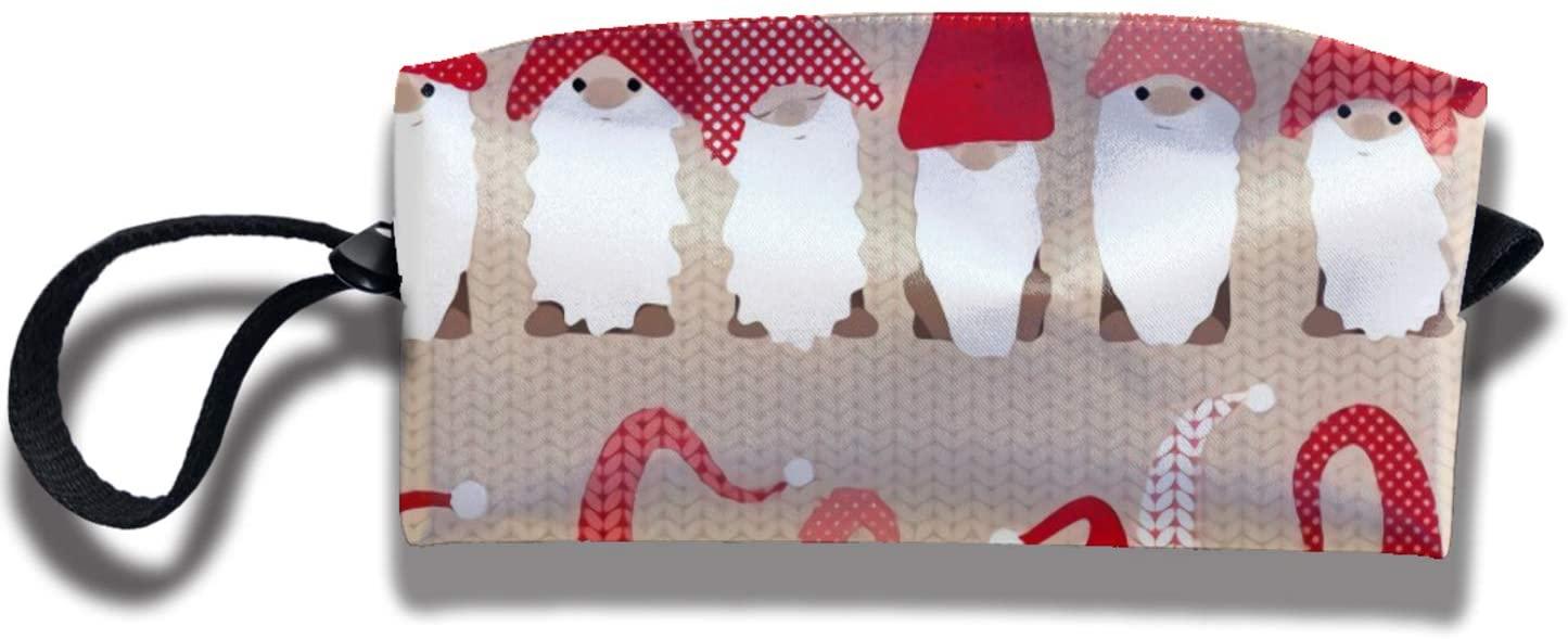 antkondnm Holiday Greeting Gnome Friends Cosmetics Bag Case Purse Travel & Home Portable Make-Up Receive Bag