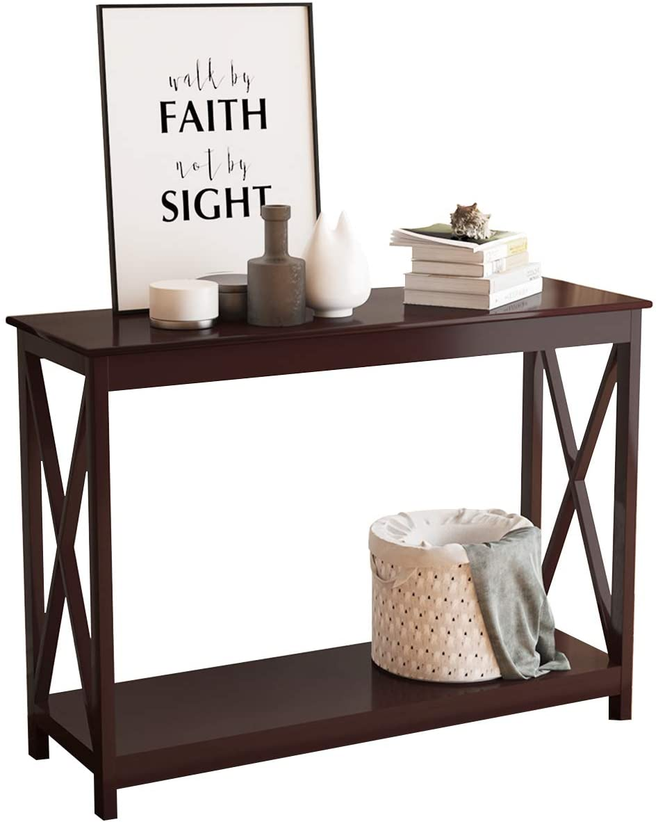 sogesfurniture Entryway Console Sofa Couch Table Sofa Table Console Table for Entryway Accent Wall Table with Shelf for Living Room, Brown BHUS-BHUS-CYS-ST001