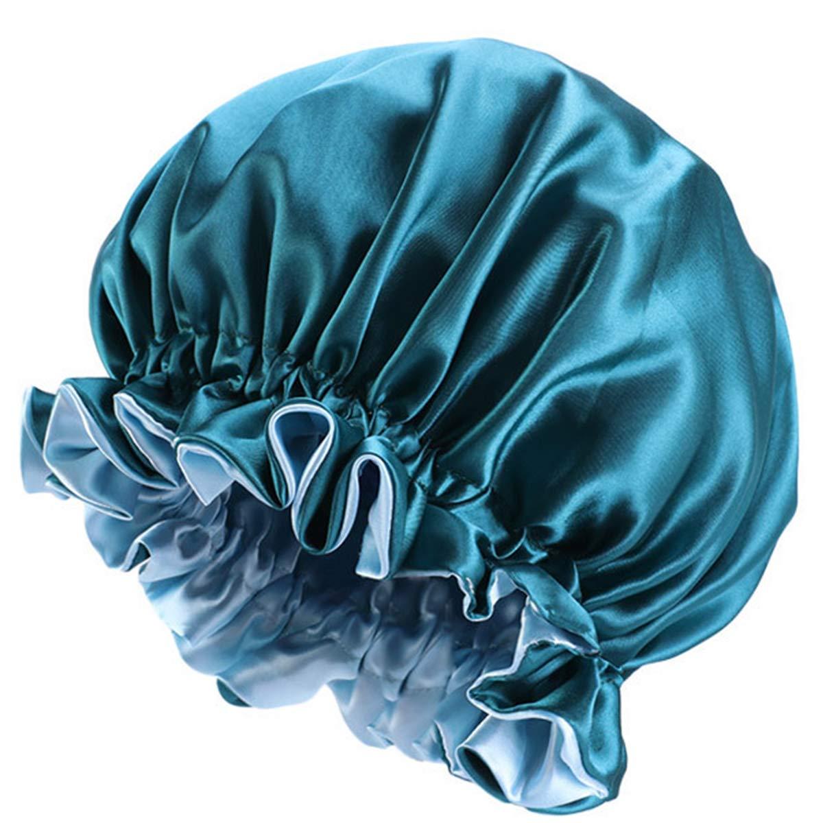 oenbopo Satin Bonnet Shower Cap Women Satin Bonnet Dual-layer Reversible Sleeping Hat Head Cover Bathing Hat