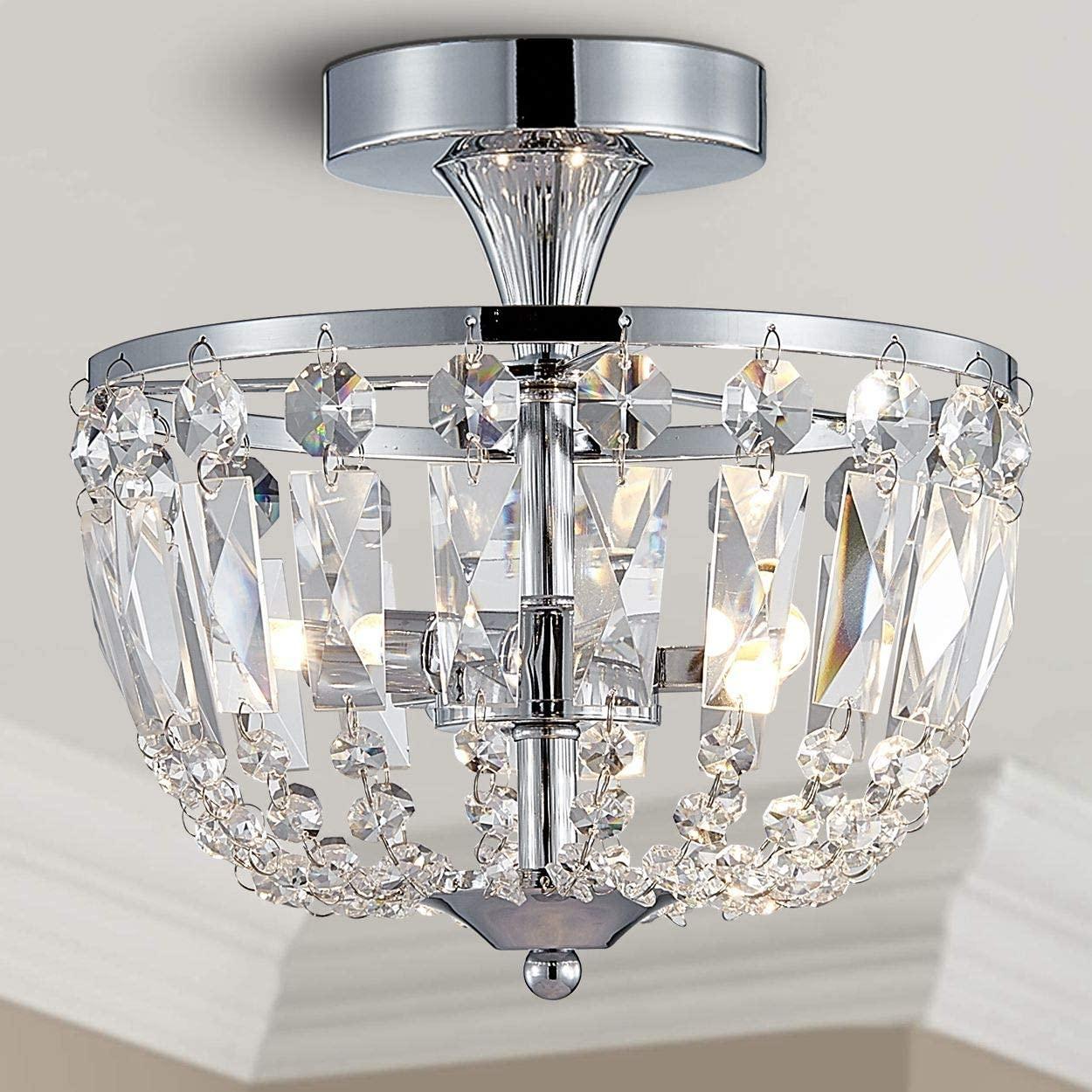 Bestier Modern Chrome Crystal Semi Flushmount Chandelier Lighting LED Ceiling Light Fixture Lamp for Dining Room Bathroom Bedroom Livingroom Diameter 9