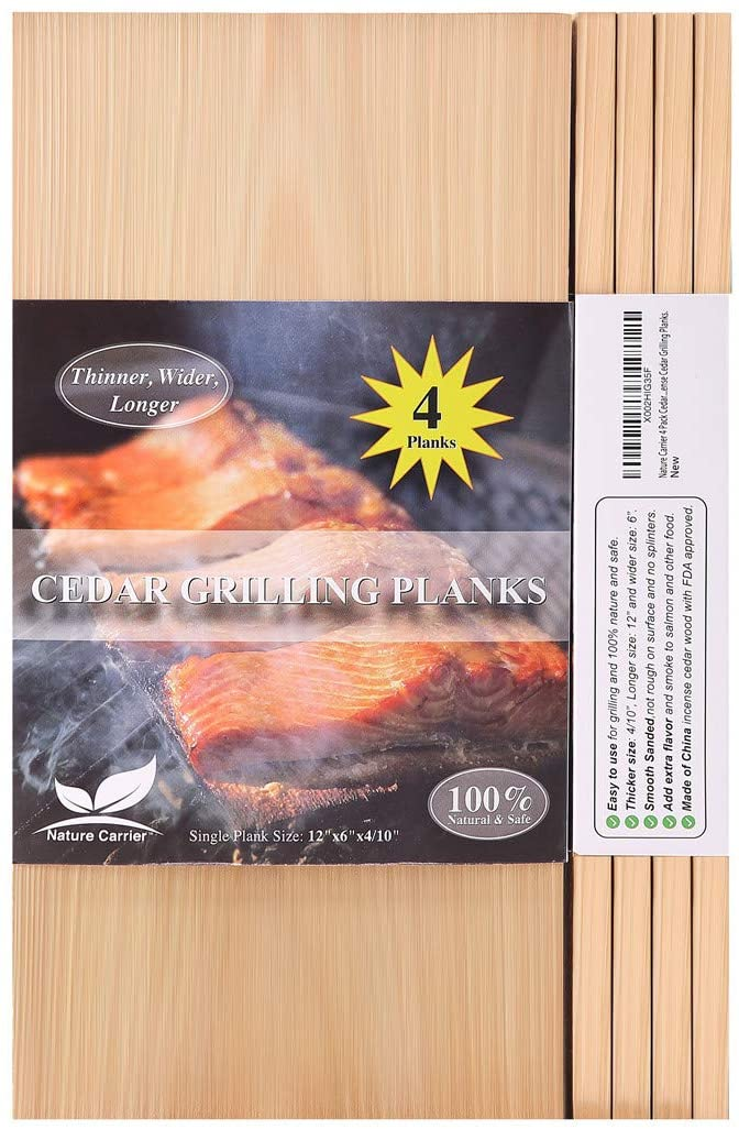 """Nature Carrier 4 Pack Cedar Planks for Grilling Salmon/Fish with Thicker (4/10"""") & Larger (12""""x 6"""") Size. Add Extra Flavor and Smoke - BBQ China Incense Cedar Grilling Planks."""