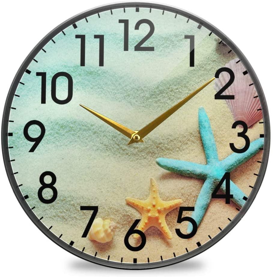 Retro Seashells On Sand Beach Large Wall Clocks, Battery Operated Non Ticking Clock Silent Bedroom Kitchen Art Clock Home Decor