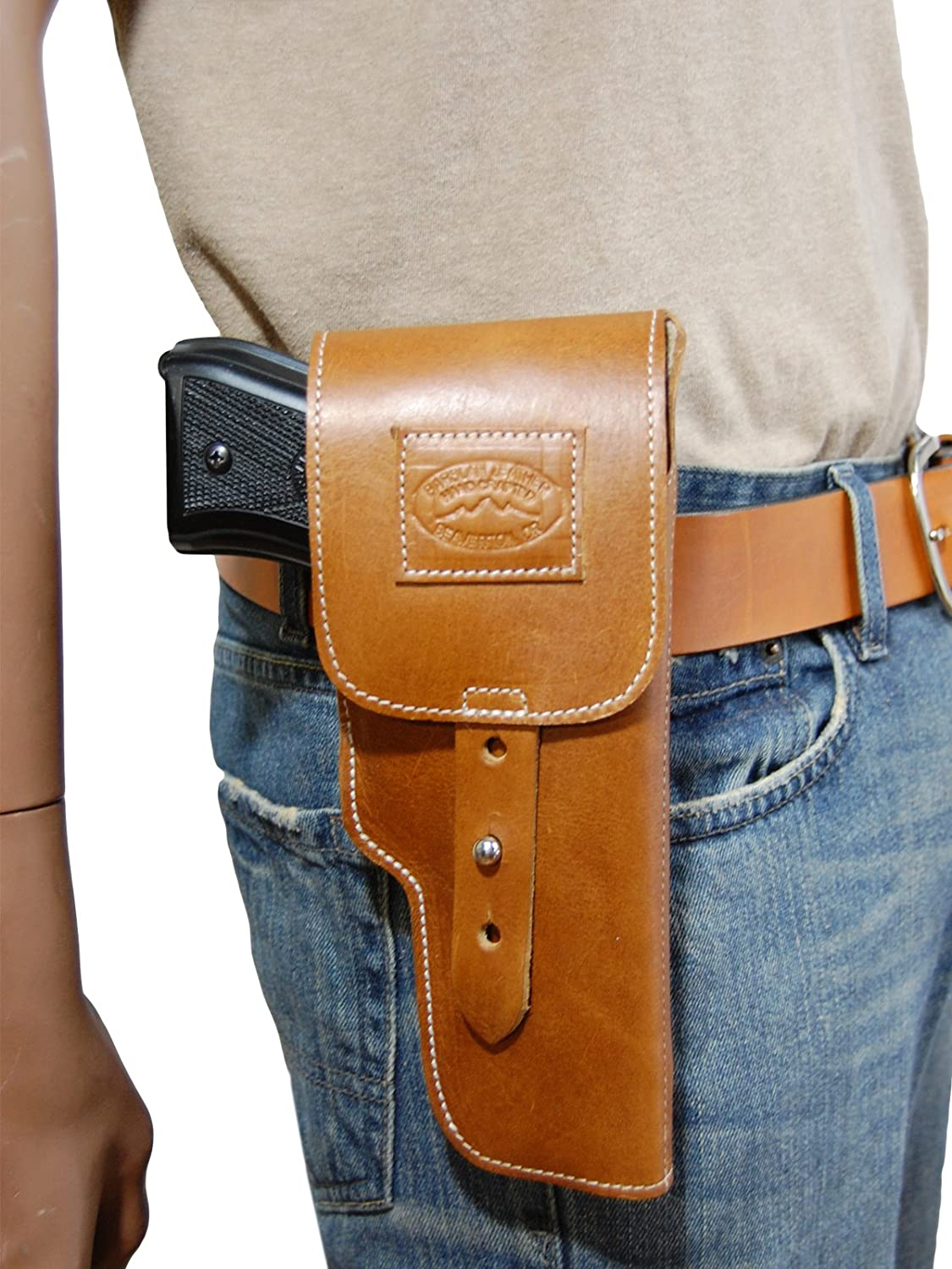Barsony New Saddle Tan Leather Flap OWB Holster for Full Size 9mm 40 45 Pistols