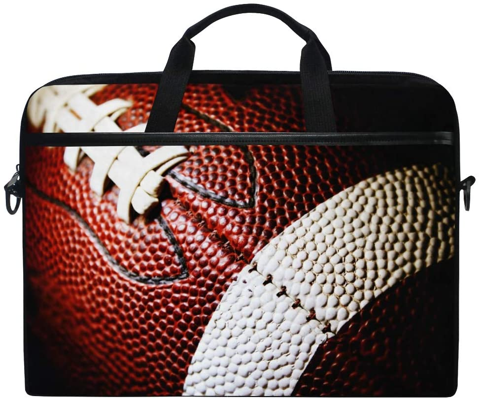 ALAZA Close Up of American Football Sports Laptop Case Bag Sleeve Portable/Crossbody Messenger Briefcase Convertible w/Strap Pocket 15-15.4 inch, Back to School Gifts