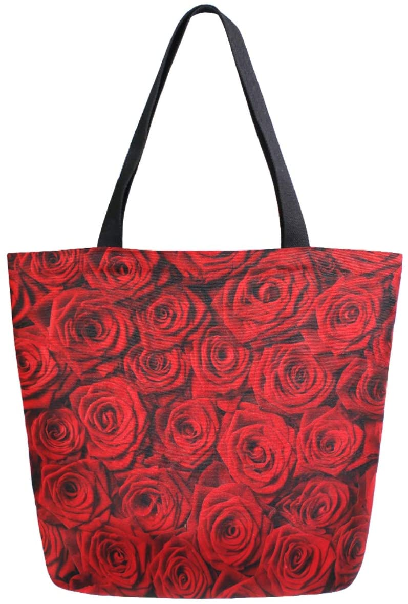 ZzWwR 3d Beautiful Red Rose Flower Print Large Canvas Gym Beach Travel Reusable Grocery Shopping Tote Bag Foldable Handbag Portable Storage HandBags