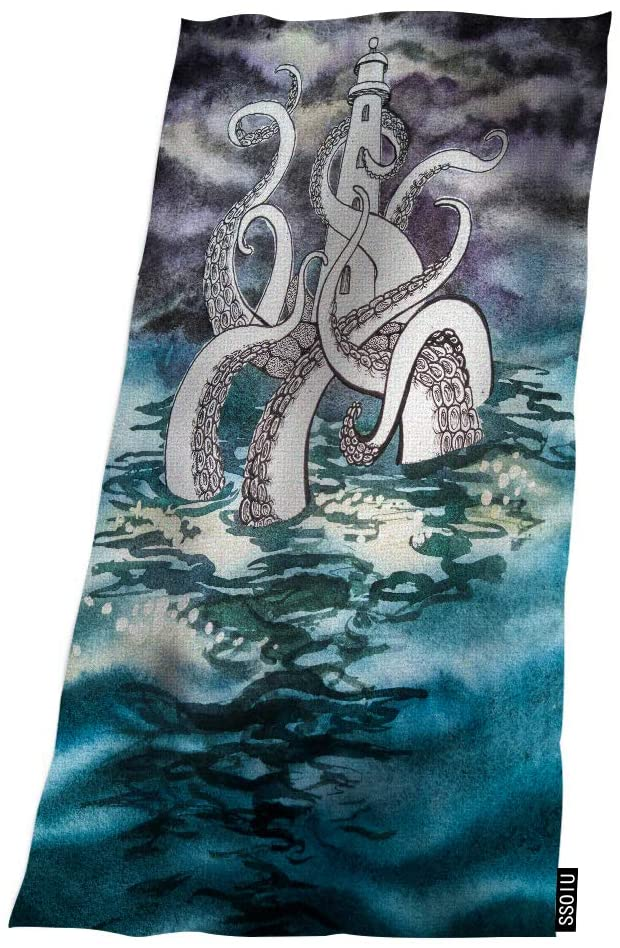 SSOIU Bath Towels Huge Octopus Squid Tentacles Sea Tower 32 X 64 Inches Bath Towel Super Soft Water Absorbent Beach Towel for Bathroom,Swimming,Camping,Outdoors