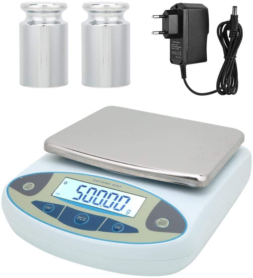 5000g Digital High Precise Weighing Scale, Lab Weighing Electronic Balance Jewelry Scale, 100-240V Digital Lab Scale High Precision Counting Scale (EU Plug)