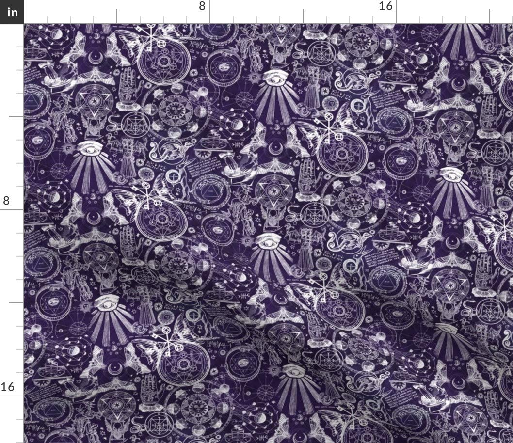 Spoonflower Fabric - Dark Purple Occult Alchemy Astrology Zodiac Witchcraft Goth Printed on Cotton Poplin Fabric by The Yard - Sewing Shirting Quilting Dresses Apparel Crafts