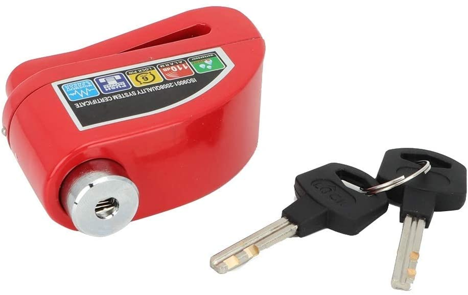 Disc Brake Lock - a0194-02 Aluminum Alloy Motorcycle Anti-Theft Alarm Disc Brake Lock (Red, Gold, Silver) (Color : Red)
