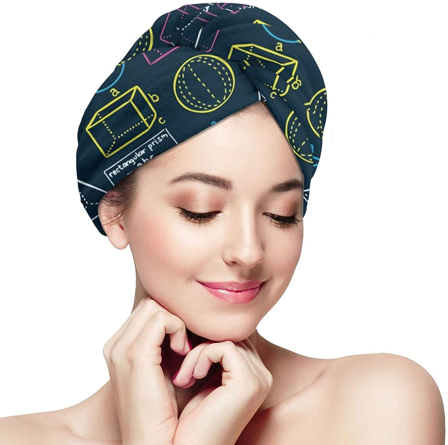 NiYoung Ladies Math Equation School Hair Drying Towels Drying Microfiber Hair Towel Wrap Absorbent Rapid Drying Hair Turban for Dry Hair Quickly