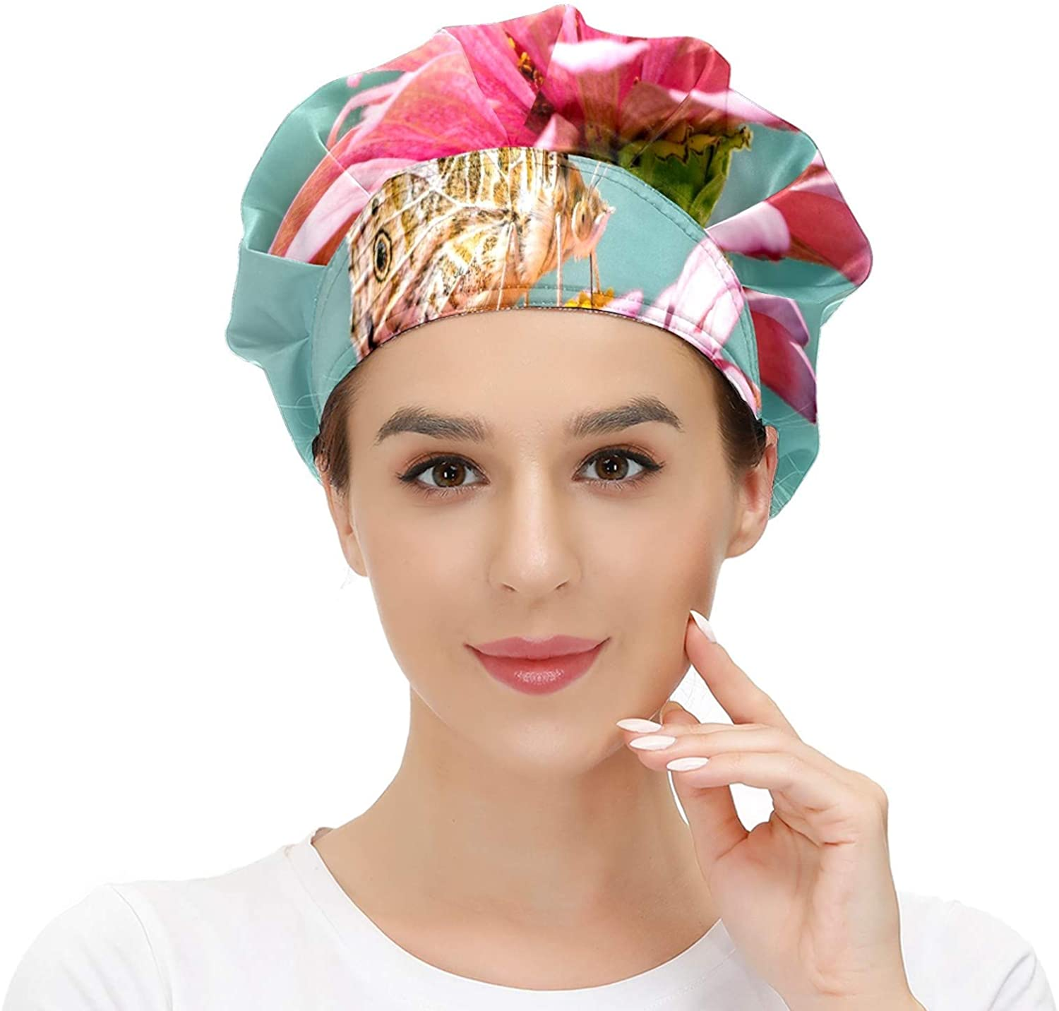 Women Cap Working Hat with Sweatband Butterfly Nature Elastic Adjustable Working Caps for Woman Men One Size Working Head Scarf Multi Color