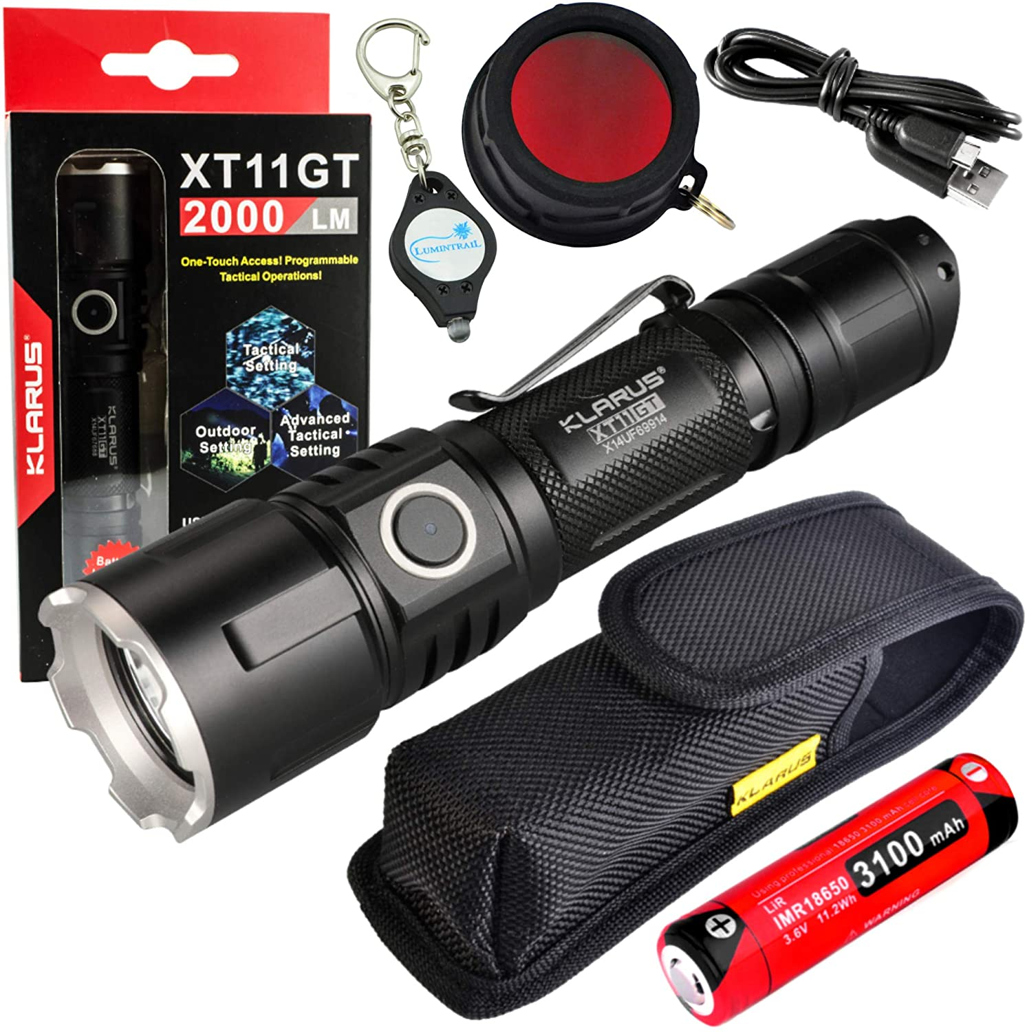 klarus New XT11GT Tactical Rechargeable Flashlight CREE XHP35 HD E4 LED 2000 Lumens Bundle with a FT11 RED Hunting Filter and a Lumintrail Keychain Light