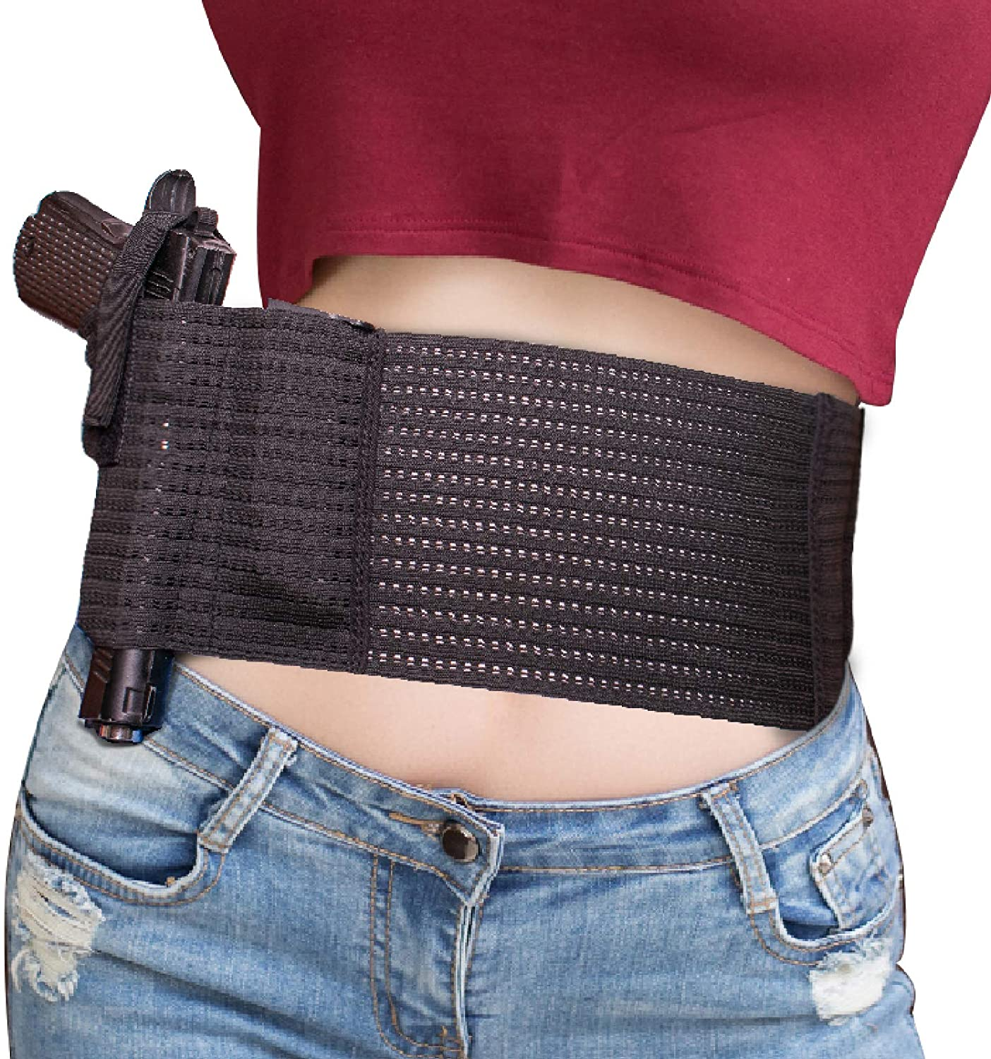 POYOLEE Belly Band Holster for Concealed Carry | Elastic IWB Holster for Women and Men Right and Left Hand Draw | Fits Subcompact Compact Pistols Revolvers