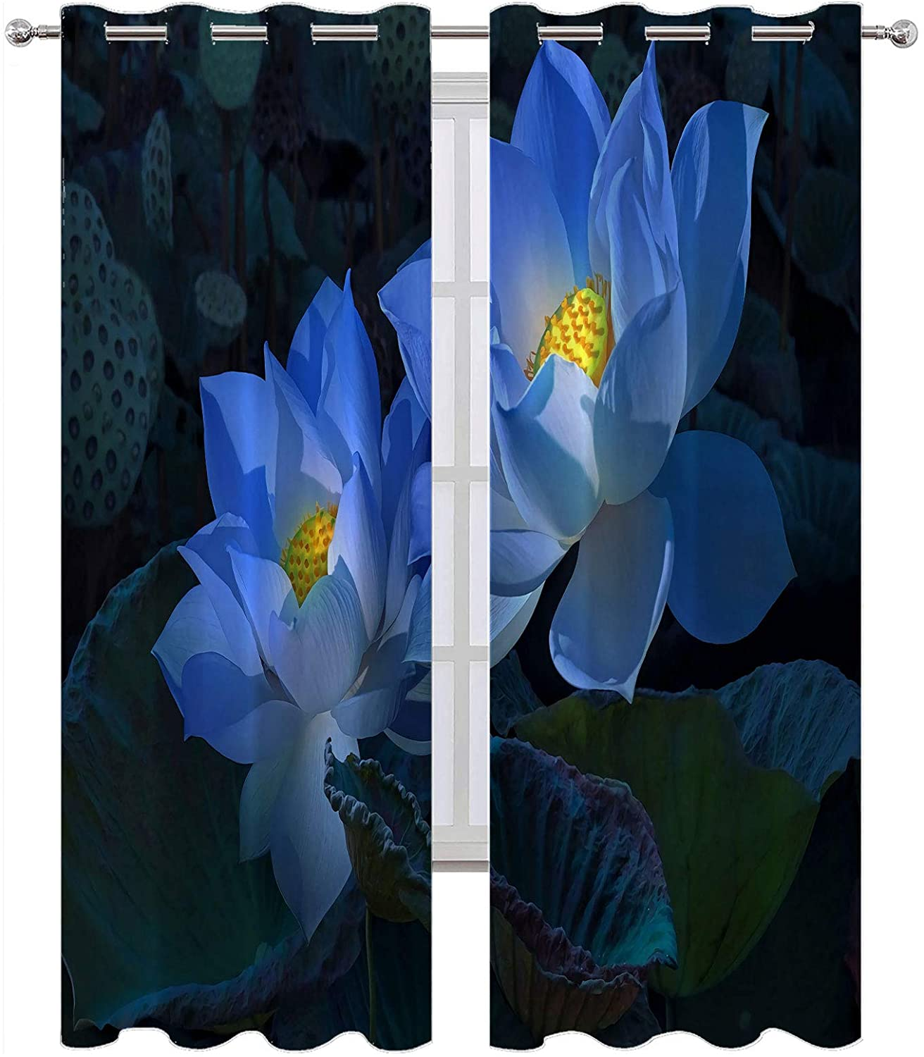 SSKJTC Blackout Window Curtains/Drapes Flowers Blue Night Lotus Blackout Curtains for Kids Room W63 x L45