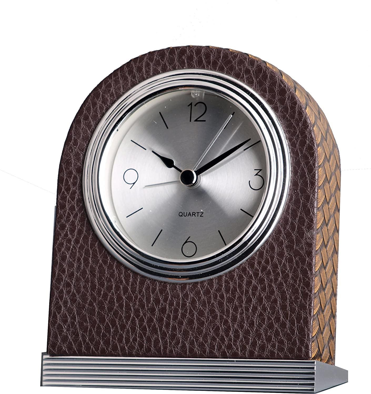 ISHIWA Quality Analog Leather Coat Hotel Alarm Beep Clock Desk Clock, Home Decor, Great for Gift - (A00169-L)