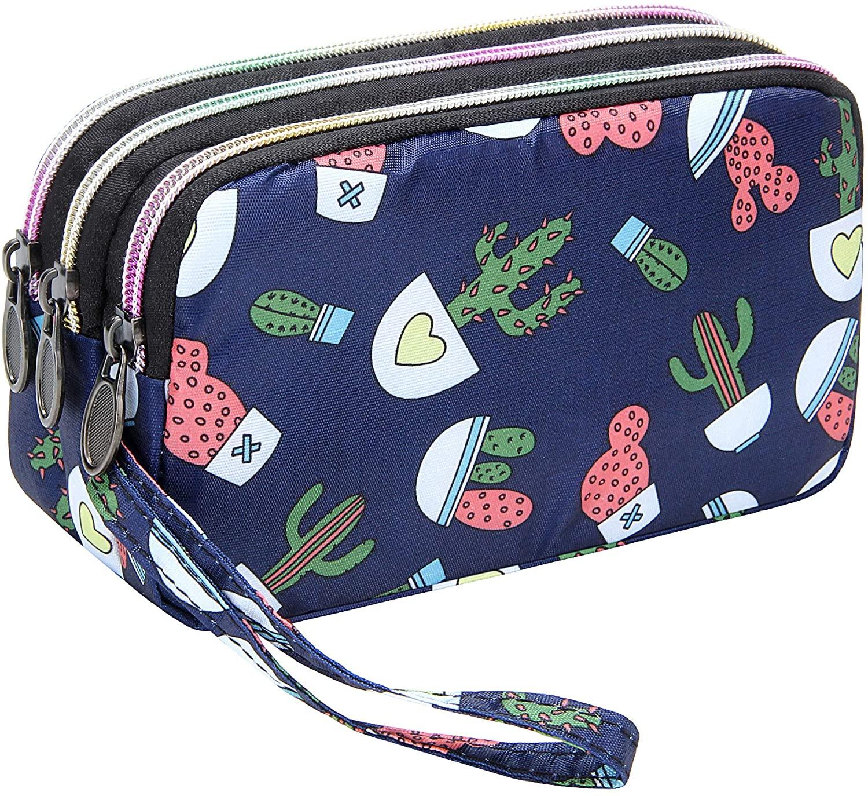 Badiya Floral Cellphone Wallet for Women Triple Zip Clutch Purse with Wristlet