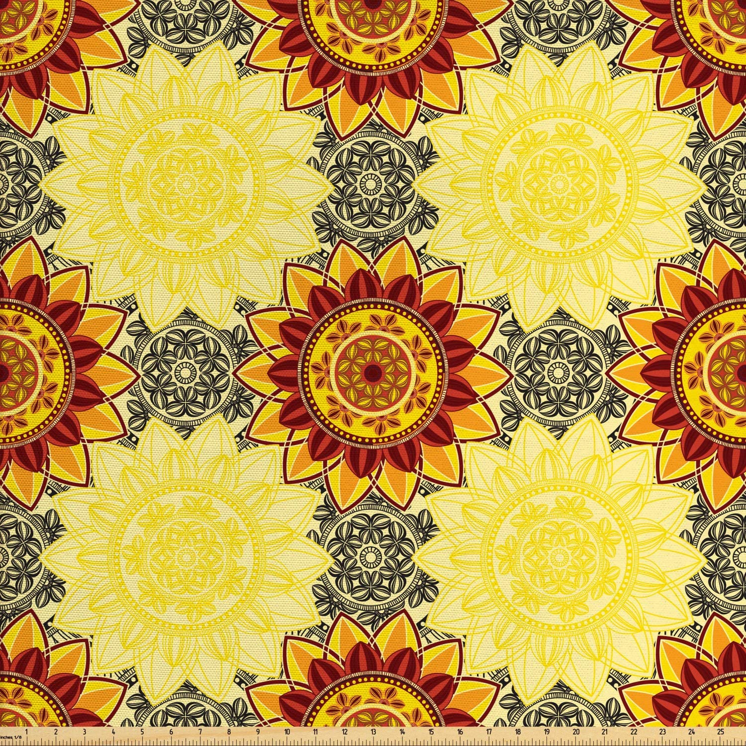 Lunarable Yellow Mandala Fabric by The Yard, Bohemian Floral Motifs Framework Colorful Hippie Style Traditional Details, Decorative Fabric for Upholstery and Home Accents, 1 Yard, Yellow Burgundy