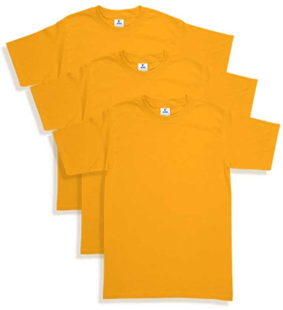Mens Heavy Weight (5.9-Ounce) Crew Neck Short Sleeve T-Shirt - 3-Pack (Mango, Small)
