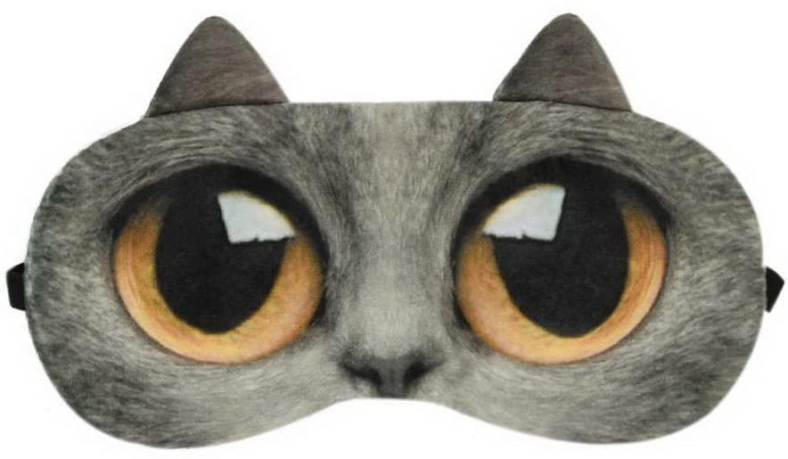 Funny Cartoon 3D Cat Eyes Sleep Mask Creative Light Shading Eye Masks, Dark Gray