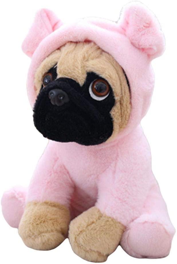 XIAOHUI Cute Dog Ragdoll Wearing Hat Dog Simulation Pug Dog Doll Plush Toy-8 inches (Pink,8 inches)