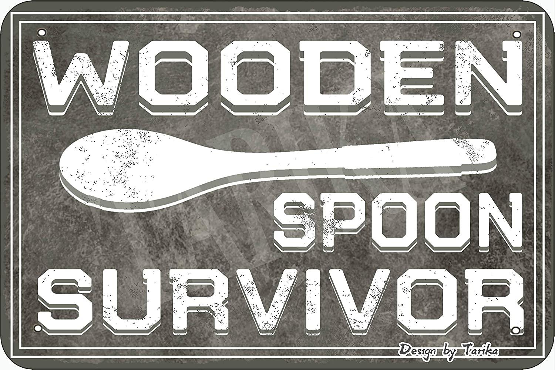 Tarika Wooden Spoon Survivor Retro Look Metal 20X30 cm Decoration Art Sign for Home Inspirational Quotes Wall Decor