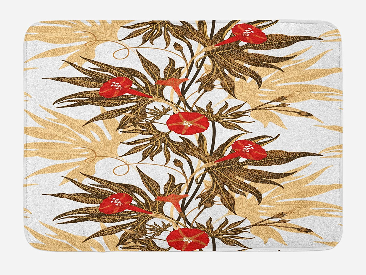 Ambesonne Floral Bath Mat, Exotic Climbing Plant Ivy Flowers Leaves Vintage Blooms Botanical Artwork, Plush Bathroom Decor Mat with Non Slip Backing, 29.5