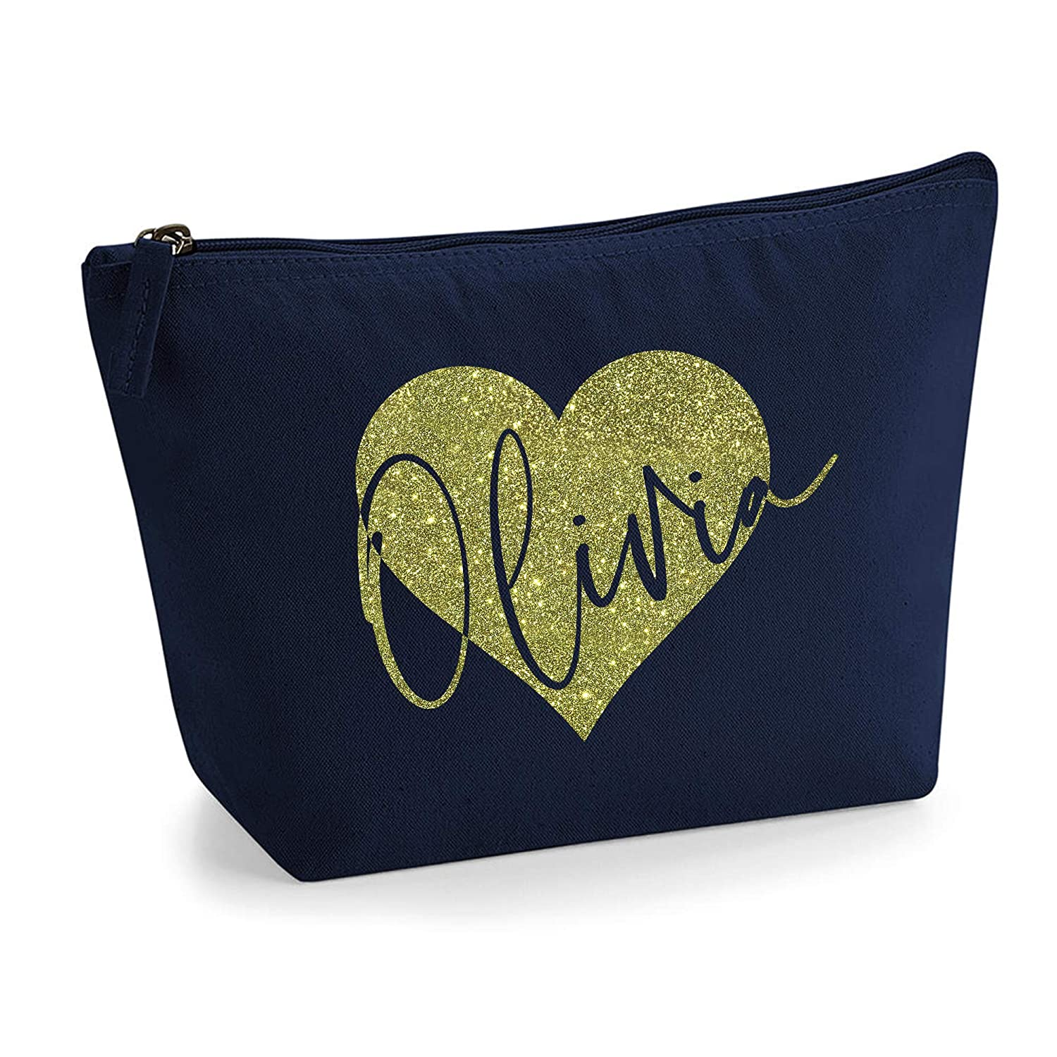 Personalized Name Initials in Heart Make Up Multi Purpose Accessory Bag - L - Navy Bag - Gold Glitter