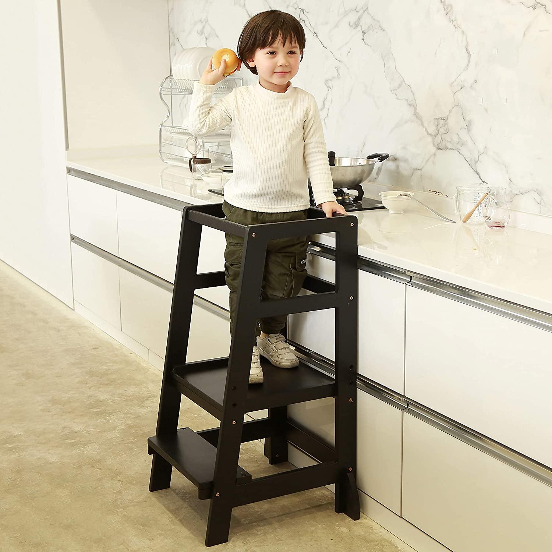 SDADI Kids Step Stools Kitchen Standing Tower Mothers Helper, Black LT06B
