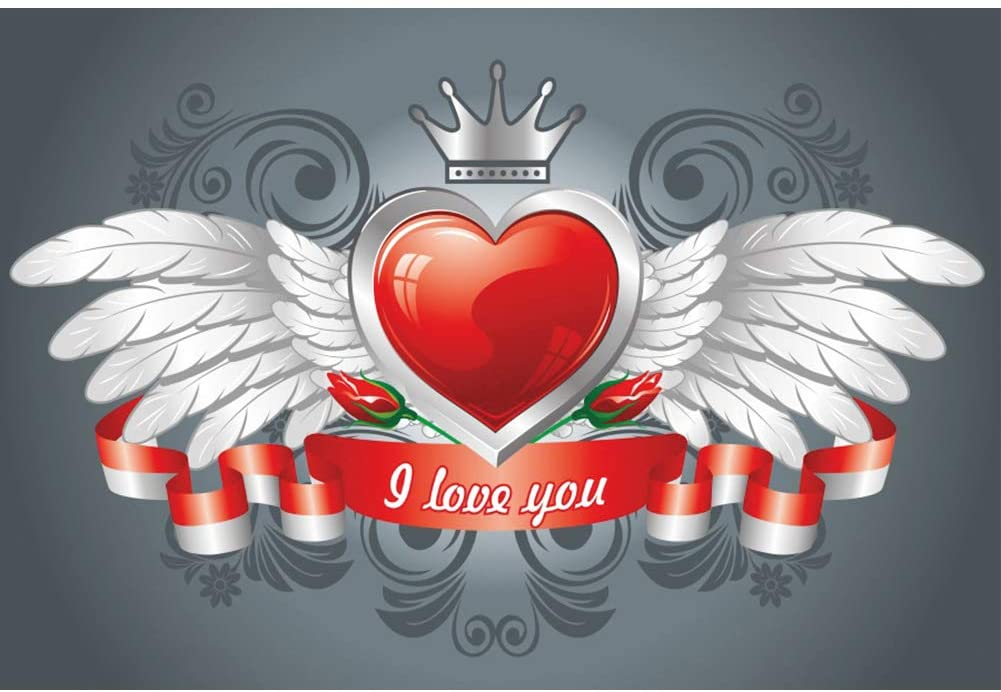 YongFoto 5x3ft Happy Valentine's Day Backdrop Angel Wings Crown Red Heart Photography Background Bridal Shower Wedding Party Decor Lovers Couple Newborn Portrait Studio Props Wallpaper