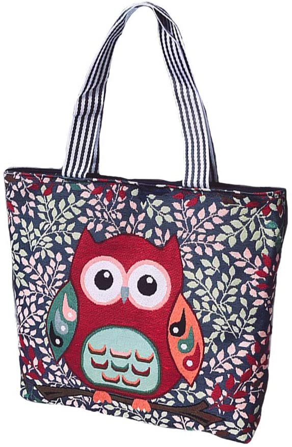 Canvas Tote Bag for Women Fashion Pattern Zippered with Inner Pocket, Beige C