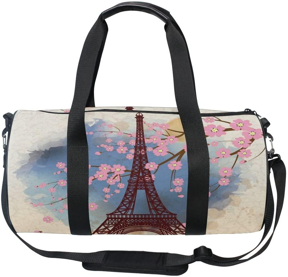 Use4 Cherry Blossom Paris Eiffel Tower Travel Duffel Bag Sport Gym Luggage Bag for Men Women