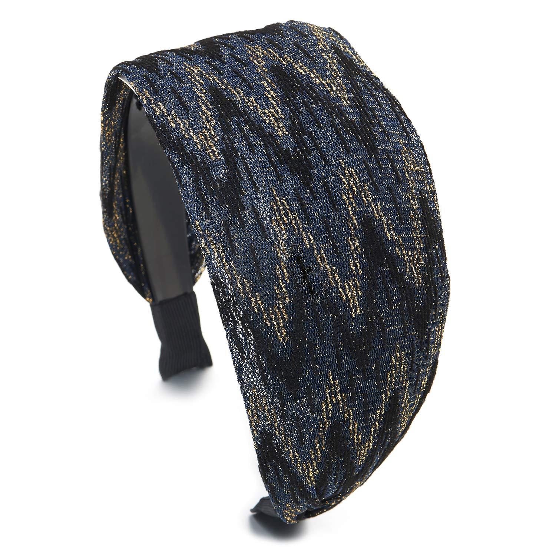 Elegant Broadside Wide Black Gold Blue Glossy Rhombus Pattern Lace Headband Hair Hoop Hairband