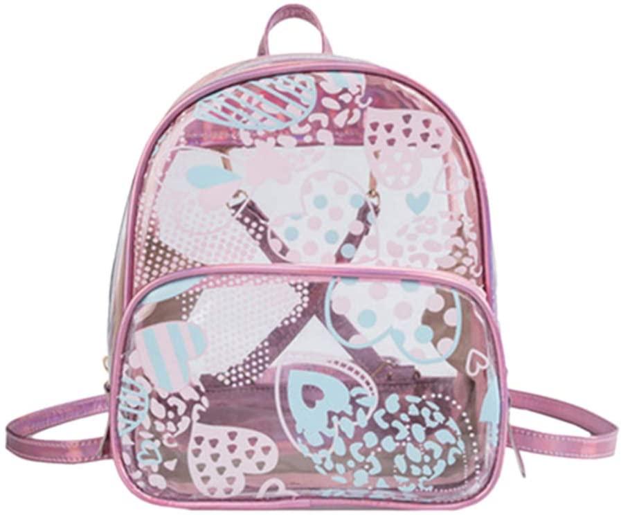 TENDYCOCO Women Backpack Holographic Transparent Shoulder School Satchel Handbag for Teenagers Student Girls