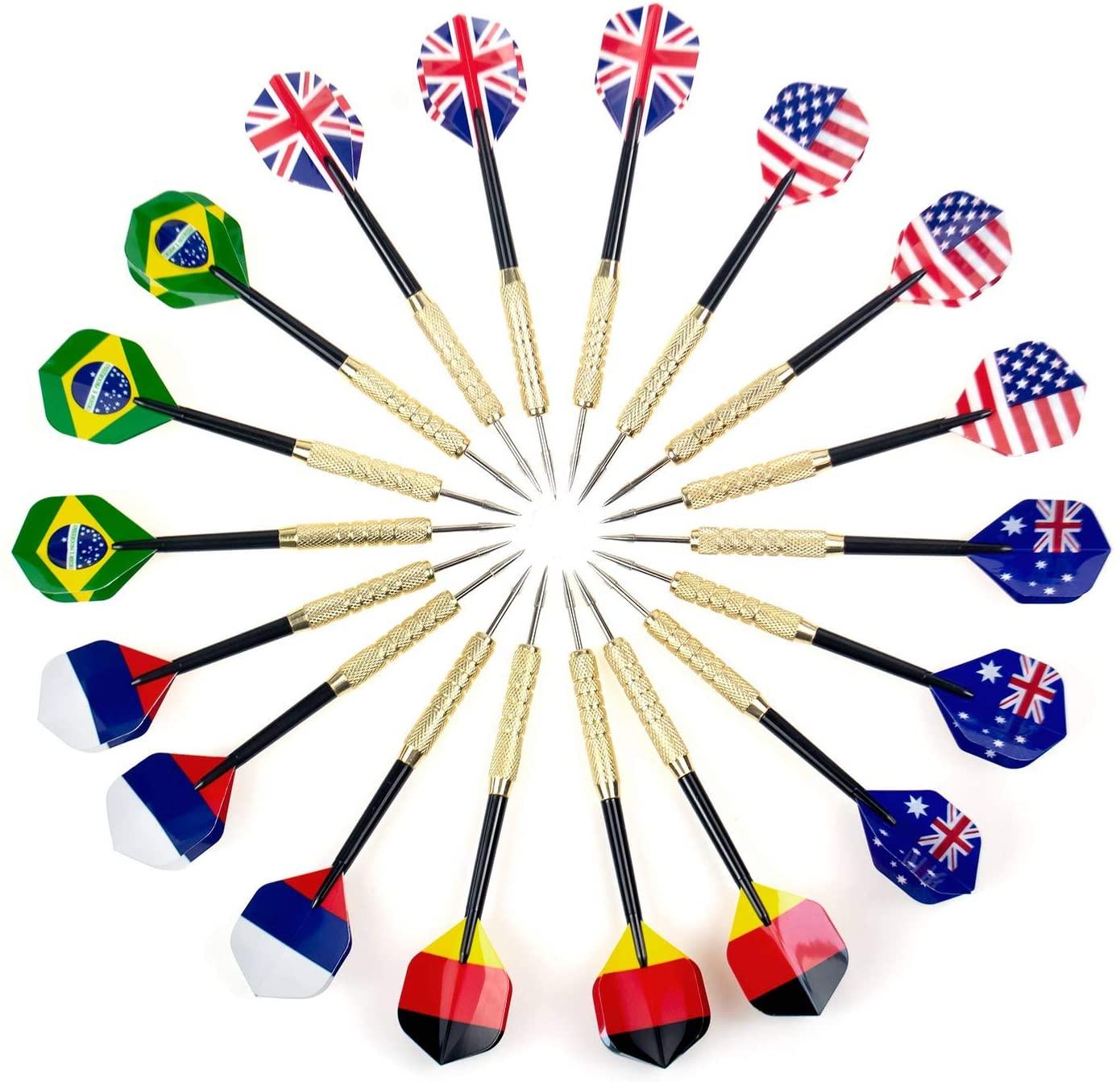 Addmotor Steel Tip Darts 18 Packs, Professional Metal Darts, Detachable Steel Darts, National Flag