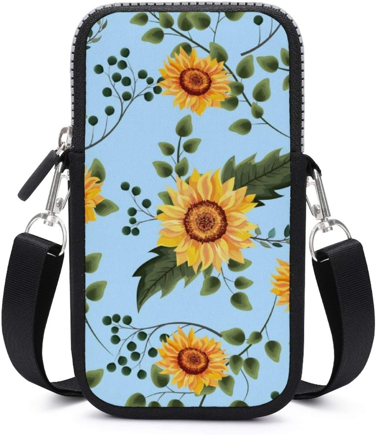 NiYoung Fashion Cell Phone Purse for Women and Girls - Small Crossbody Bag Shoulder Bag (Beautiful Sunflowers Pattern)