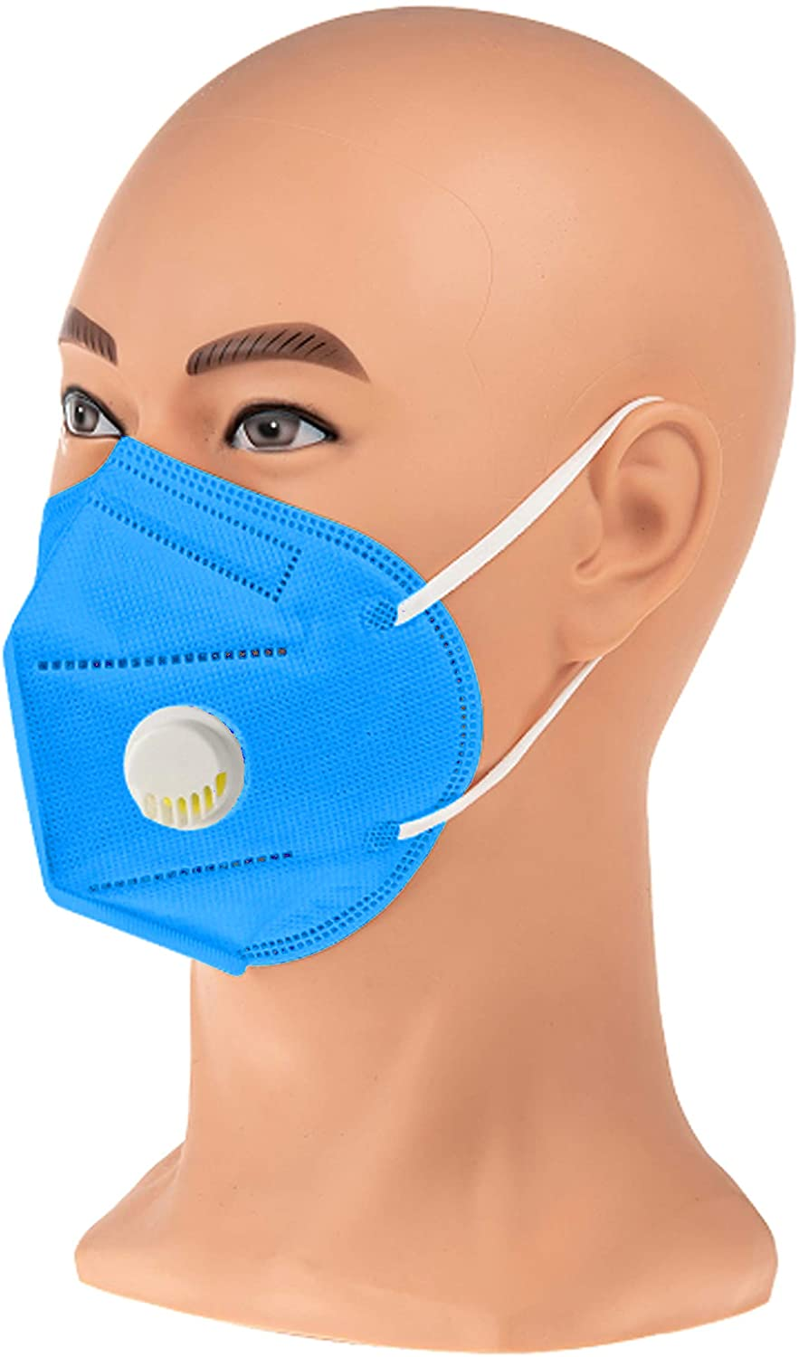 COOLINKO Light Blue Disposable Face Masks 5-Layers>95% Effectiveness Breathable Non-Woven with Nose Wire and Ear Loops - 5-Ply Protective Cotton Mouth Muffle Guard Covering Mask (4 Masks)