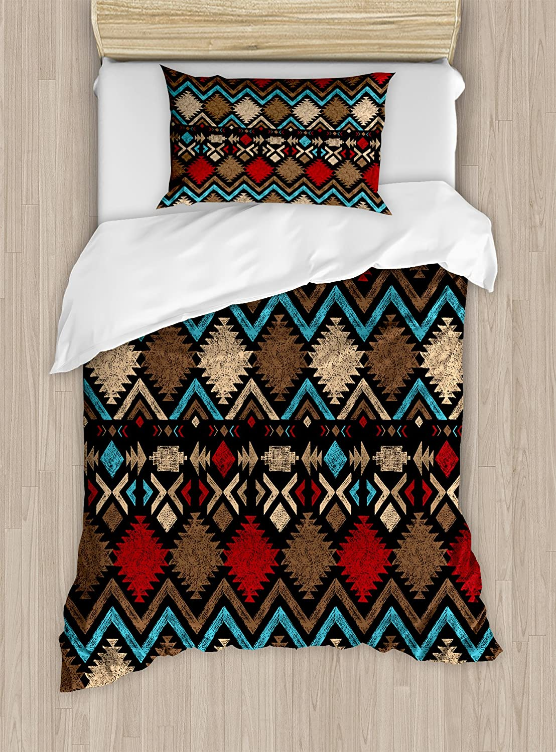 Lunarable Aztec Duvet Cover Set, Design Abstract Colorful Shapes Latin American Inspired Print, Decorative 2 Piece Bedding Set with 1 Pillow Sham, Twin Size, Brown Blue