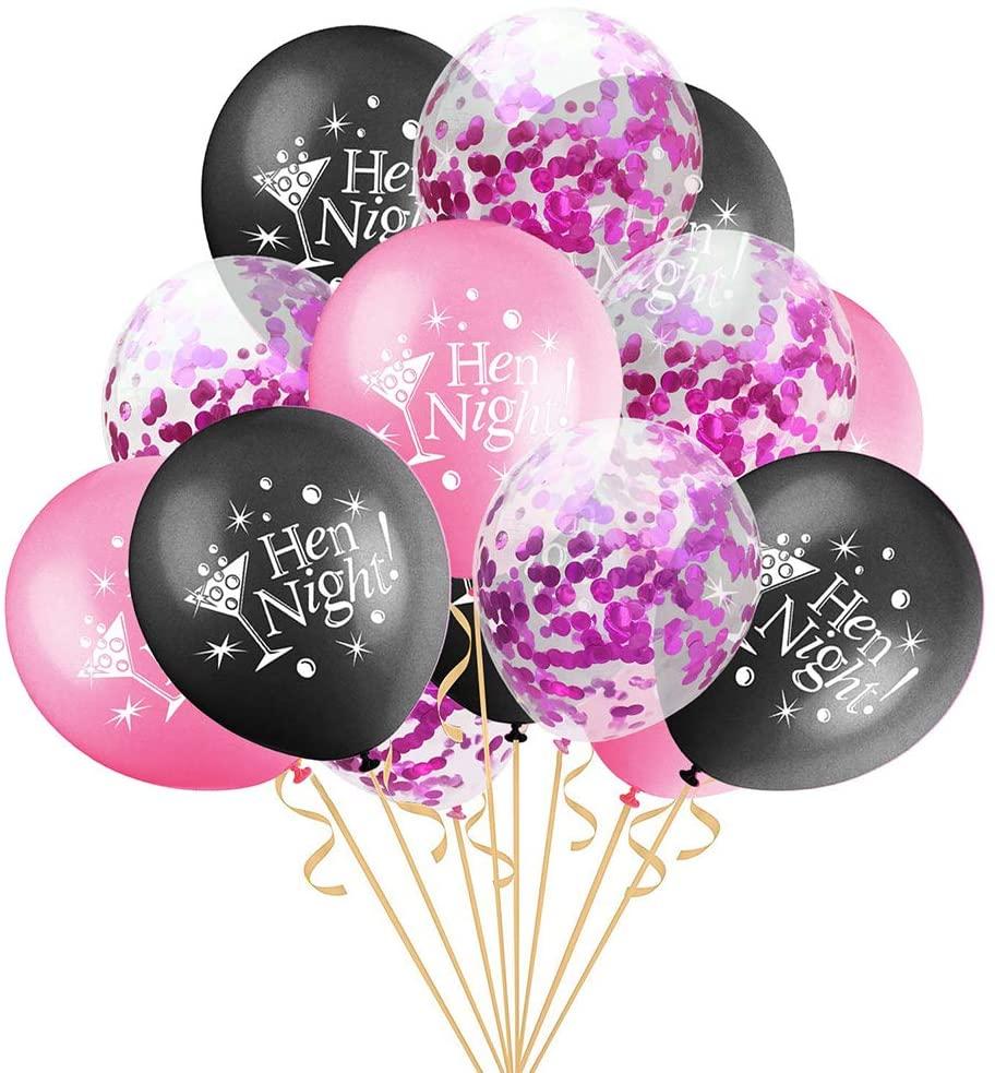 Amosfun 16pcs Bachelorette Party Balloons Cobfetti Balloons Bachelorette Bachelor Hen Party Party Decoration Supplies (Random Color)