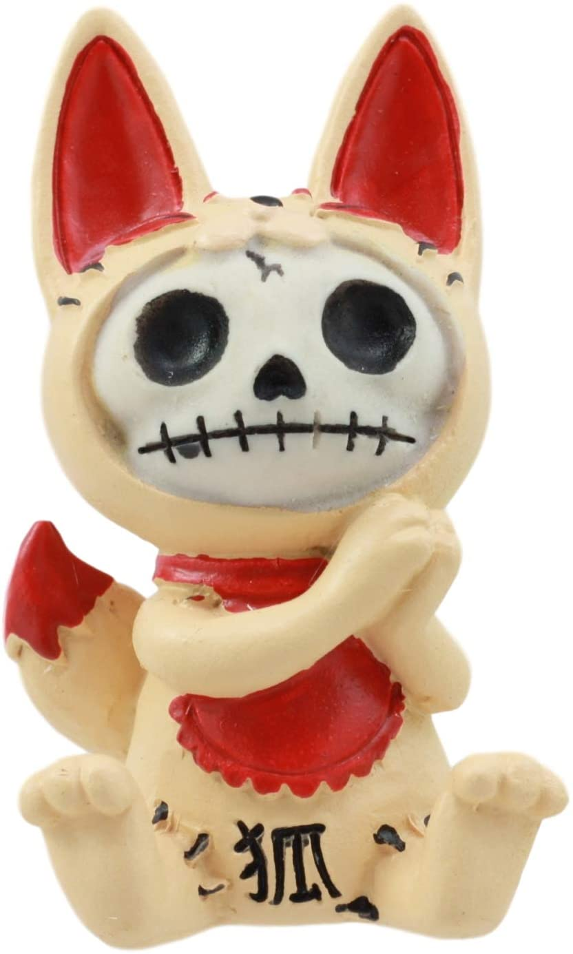 Ebros Japanese Beckoning Fox Maneki Kitsune Furry Bones Figurine 3