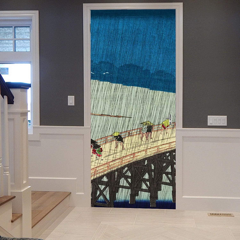 A.Monamour 3D Door Stickers for Interior Doors Sudden Shower by Utagawa Hiroshige Drawing Heavy Rain On Bridge Vinyl Waterproof Self Adhesive Door Mural Decals for Bedroom Office Bathroom 83 x 204 cm