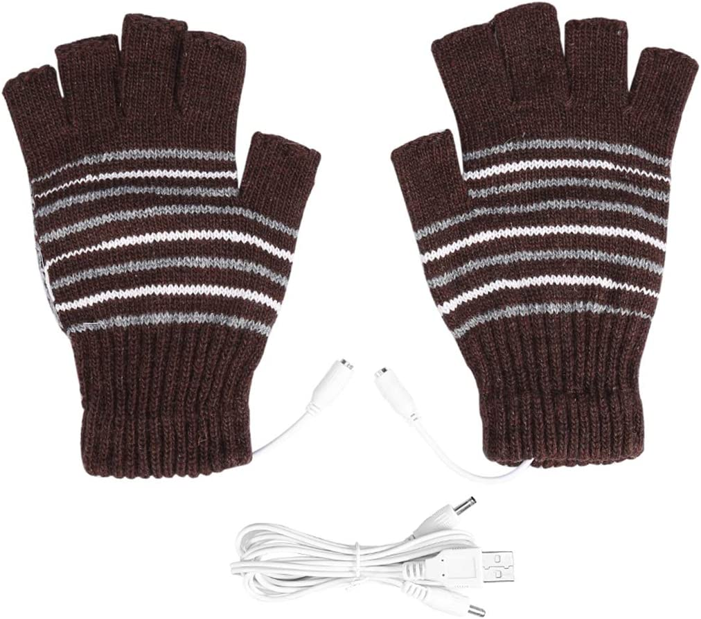 OhhGo 1Pair 5V USB Heated Gloves Winter Half Fingers USB Heating Warm Gloves - Coffee